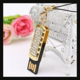 8GB Swivel USB 2.0 Crystal Flash Drive-GOLD
